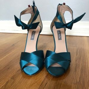 SJP Heels in Teal Satin